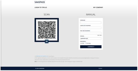 Screenshot SASSPASS/TSplus Authentication Portal