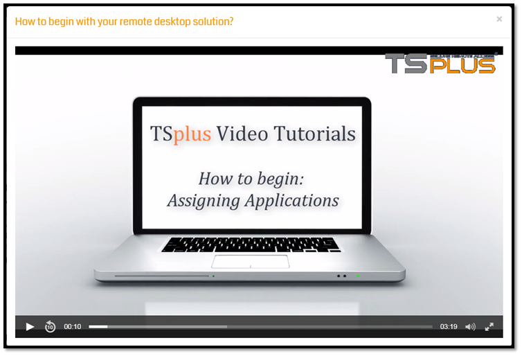 screenshot TSplus video tutorial 2