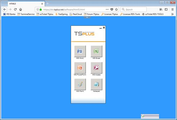 Screenshot TSplus Application Panel