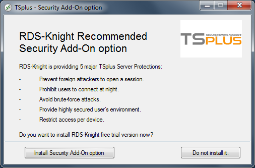 RDS-Knight security add-on integration to TSplus