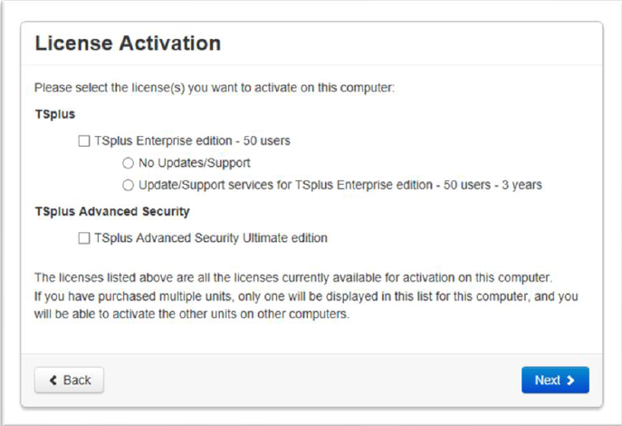screenshot TSplus Customer License Activation