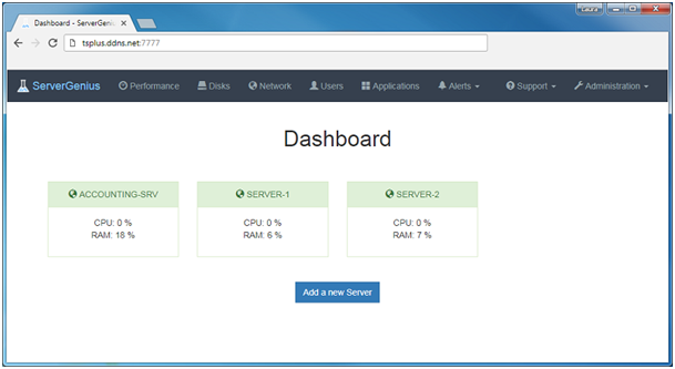 Server Genius Dashboard - TSplus monitoring Add-on