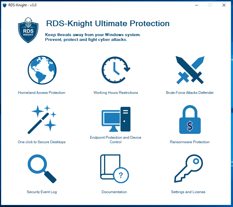 RDS-Knight is a powerful cyber security agent which protects RDS servers with 6 features.