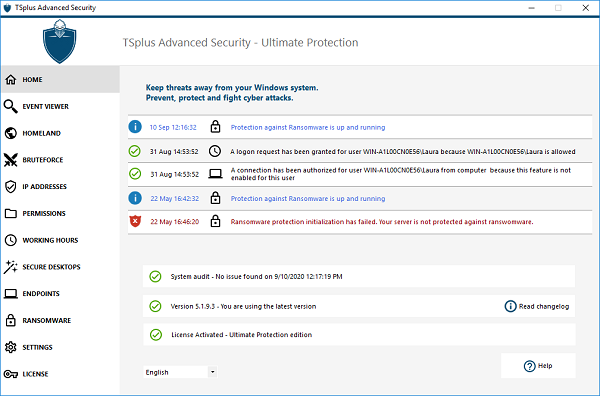 TSplus Advanced Security Essentials full screenshot
