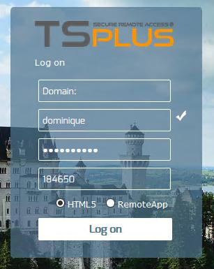 TSplus 2FA full screenshot